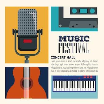 Music festival concert hall flyer