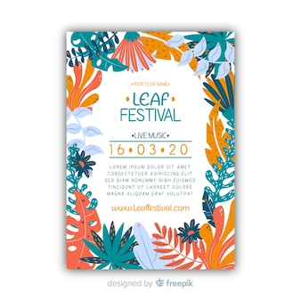 Music festival floral poster template