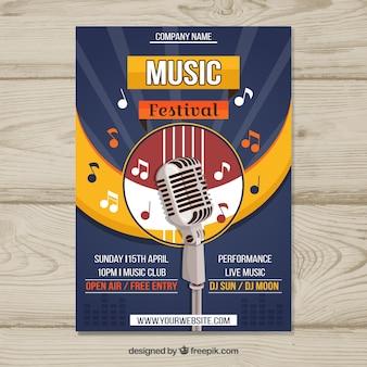 Music festival flyer in flat style