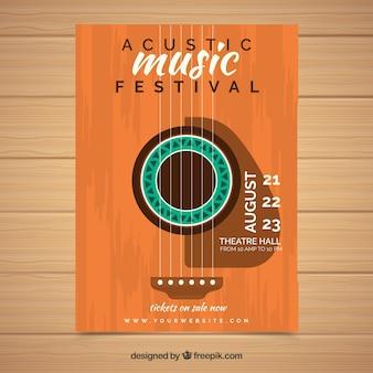 Музыкант фестиваля в плоском дизайне