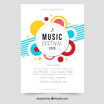 Music festival flyer in flat design