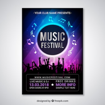 Music festival flyer template with crowd silhouette