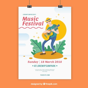 Music festival flyer template with man playing guitar