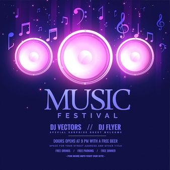 Music festival flyer template with speaker and light effect