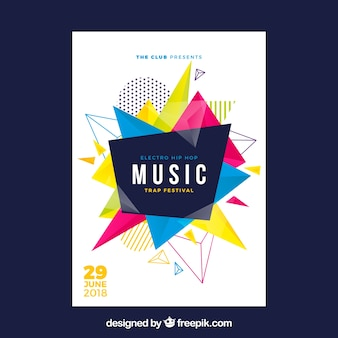 Music festival flyer with abstract shapes