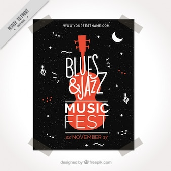 Music festival flyer with decorative guitar