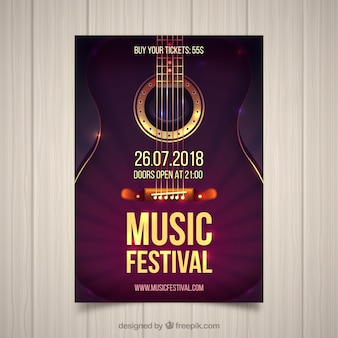 Music festival flyer with guitar in realistic style