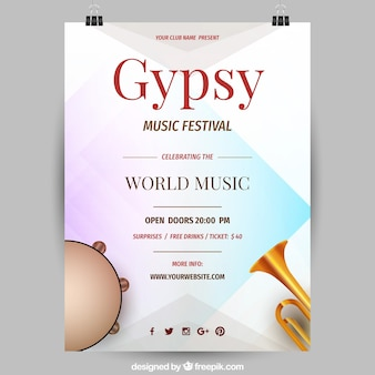 Music festival flyer with instruments in realistic style