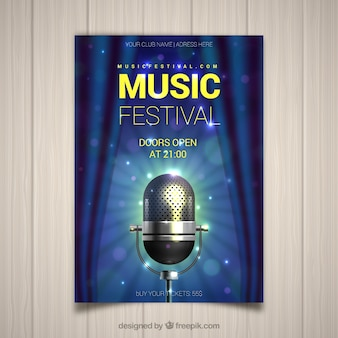 Music festival flyer with microphone in realistic style