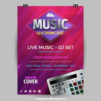 Music festival flyer with synthetizer in realistic style