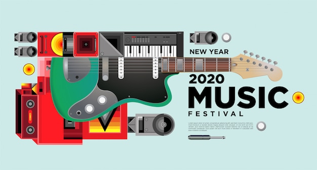 Music festival horizontal poster template design