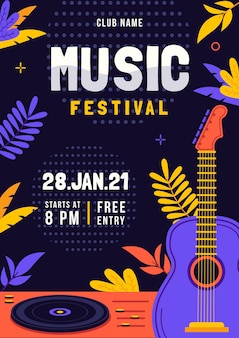 Music festival illustrated poster template