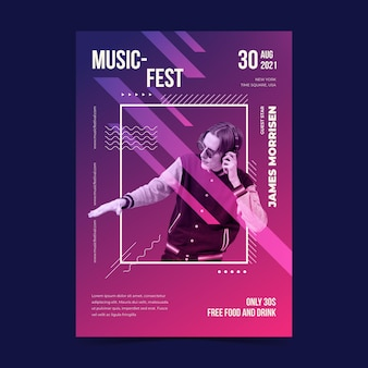 Music festival illustrated poster with image