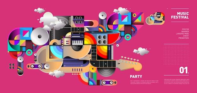 Дизайн музыкального фестиваля для вечеринки и мероприятия