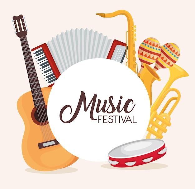 Music festival instruments set illustration