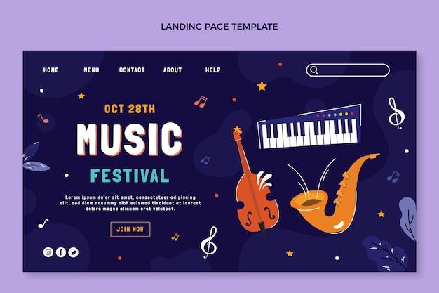 楽器のある音楽祭のランディングページ