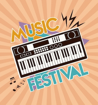Music festival lettering poster with piano electronic