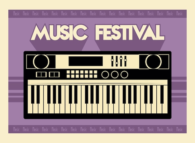 Music festival lettering poster with piano