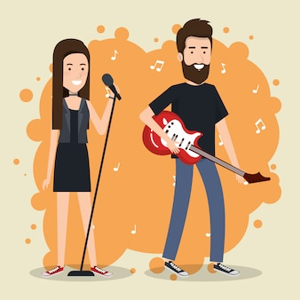 Music festival live with couple playing electric guitar and sing