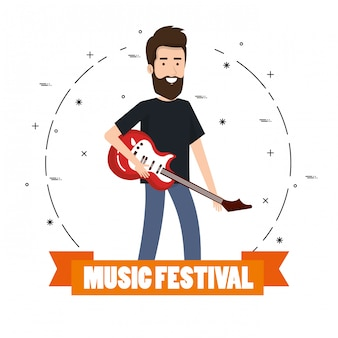 Music festival live with man playing electric guitar