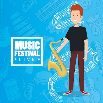 Music festival live with man playing saxophone