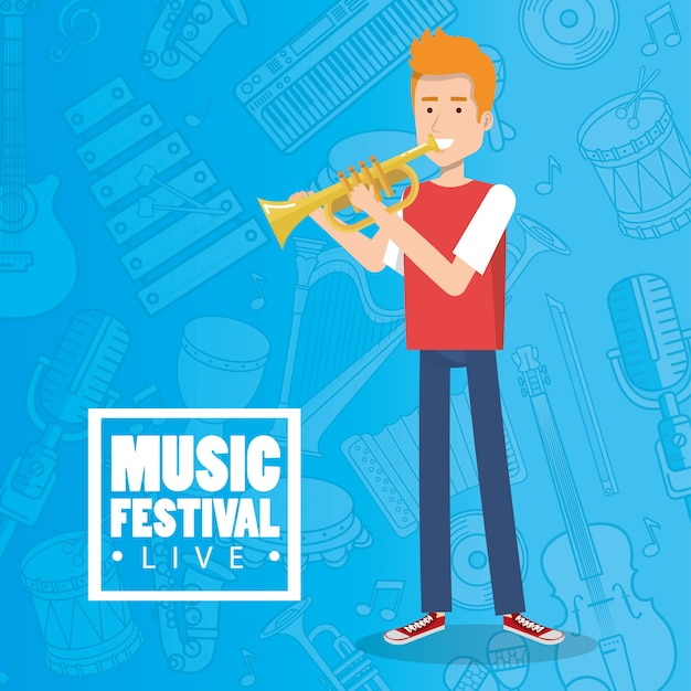 Music festival live with man playing trumpet