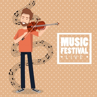 Music festival live with man playing violin