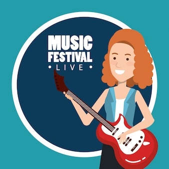 Music festival live with woman playing electric guitar