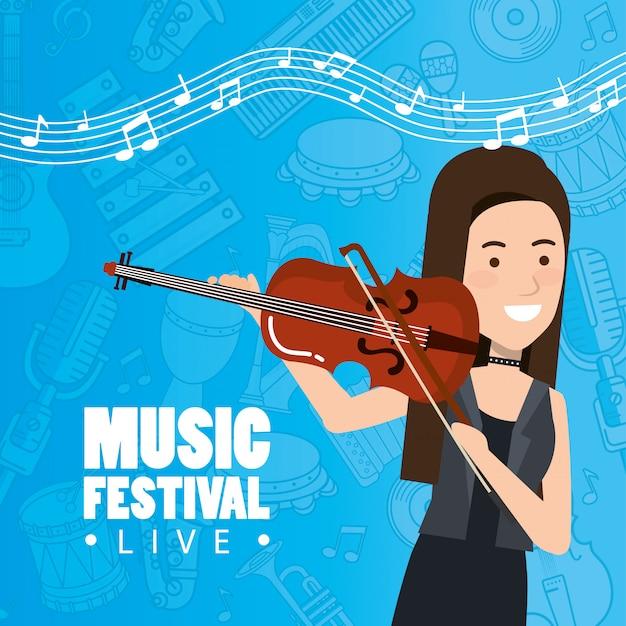 여자 바이올린 연주와 함께 음악 축제 라이브