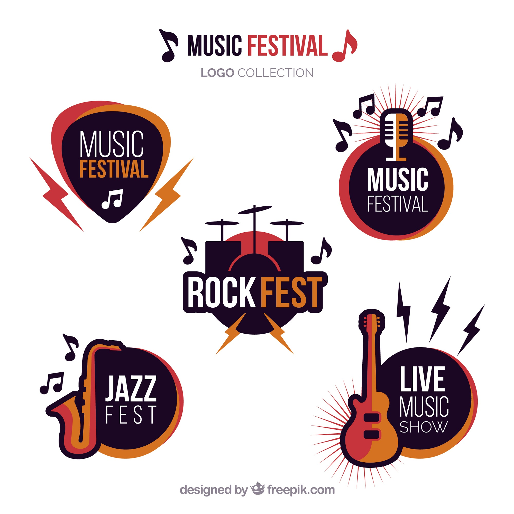 Music festival logo collection with flat design