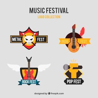 평면 디자인의 음악 축제 로고 컬렉션