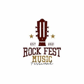 Music festival logo design concept illustrations of guitar
