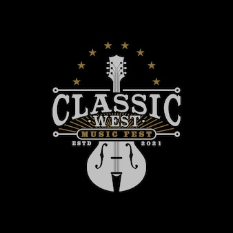 Music festival logo with classical and vintage guitar symbol