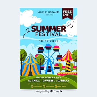 Music festival party poster or flyer template