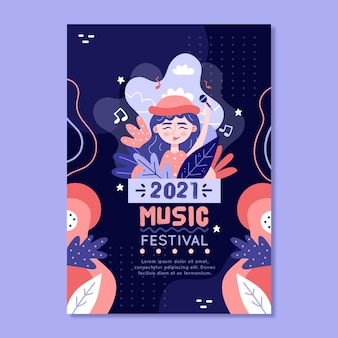 Music festival poster 2021 illustrated template