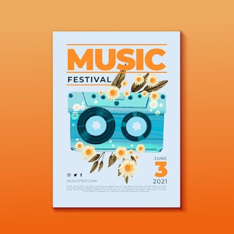 Music festival poster cassette tape and flowers