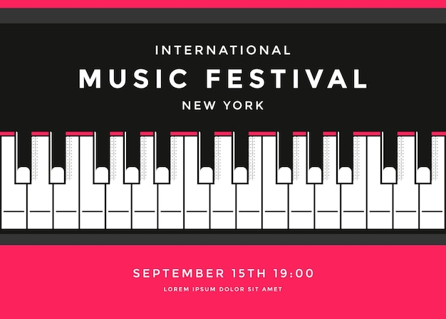 Music festival poster design template with piano keys. classic live concert background.