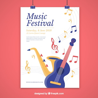 Music festival poster in flat style