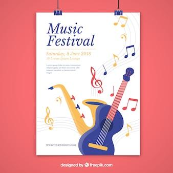 평면 스타일의 음악 축제 포스터