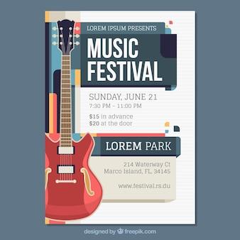 Плакат музыкального фестиваля в плоском стиле