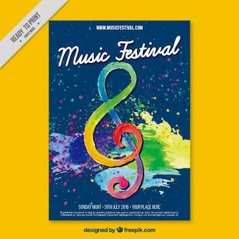 水彩画で描いた音楽祭のポスター