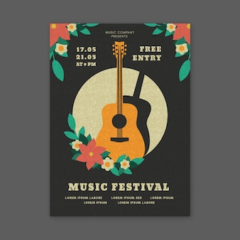 Music festival poster style with guitar