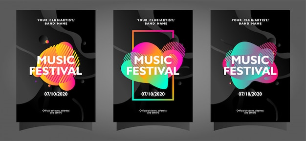 Music festival poster template collection with abstract shapes
