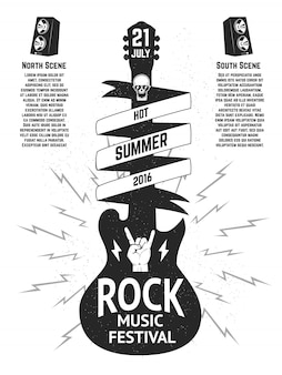 Music festival poster template. guitar silhouette  on white background.