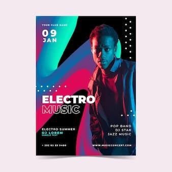 Музыкальный фестиваль плакат шаблон жидкого эффекта