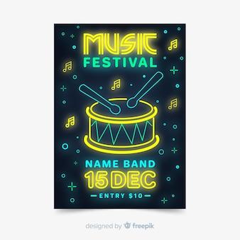 음악 축제 포스터 템플릿 네온 불빛 스타일