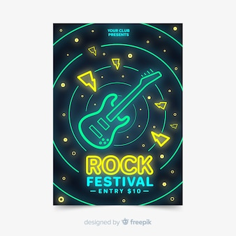 Music festival poster template neon lights style