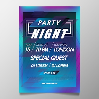 Music festival poster template night club party flyer with background from colorful