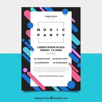 Плакат с плакатом для фестиваля с абстрактным стилем