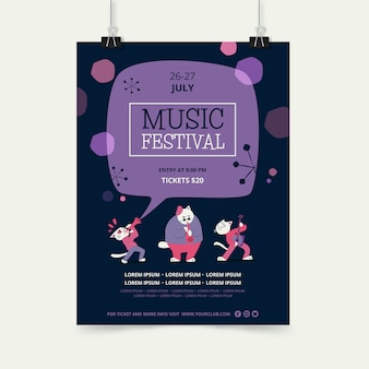 Music festival poster template with animal character band
